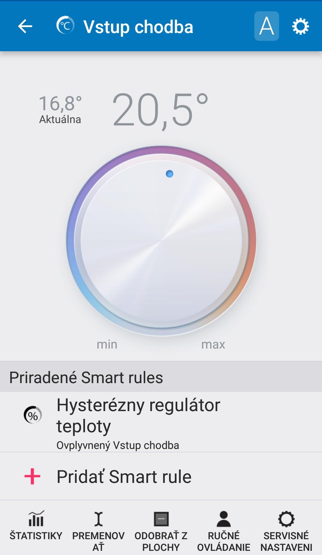 Každá zóna má samostatný regulátor s možnosťou hysterézy, PID, časovania, prítomnosti...